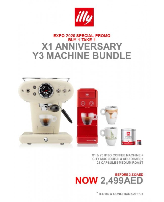 X1 Mandorla Anniversary Machine (1) + Y3.2 iperEspresso Machine Red (1) + city mug dxb & auh (2pcs) +21 Capsule Medium (1 can)