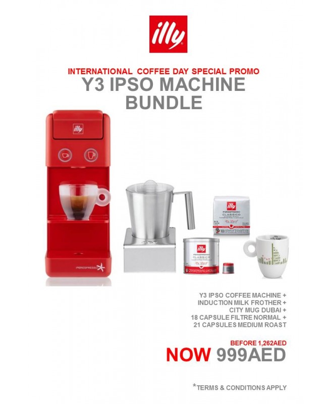 Y3.2 iperEspresso Machine Red (1) + Induction Milk Frother (1 box) + city mug dubai (1pc) + 18 Capsule Filtre (1 pck) + 21 Capsule (1 can)