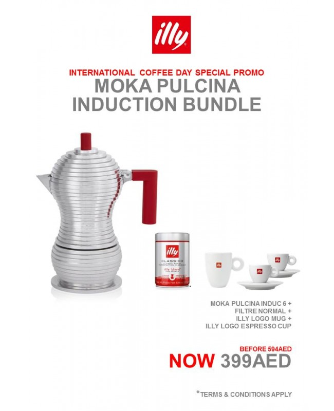 MOKA Pulcina INDUC 6 Cup Red Alessi (1) + illy Filter Normal (1 can) + illy mug (1) + illy espresso cup with saucer (2)